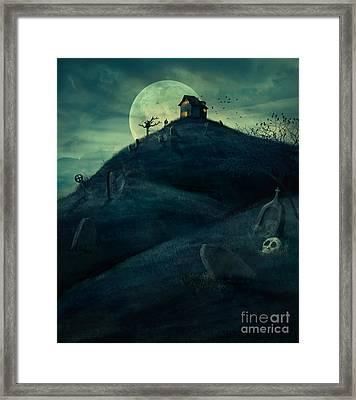 Halloween Graveyard Framed Print by Mythja  Photography