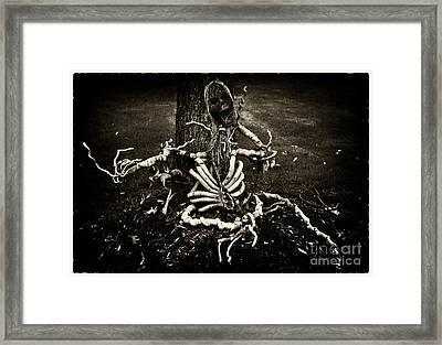 Halloween Green Skeleton Vinette Black And White Framed Print
