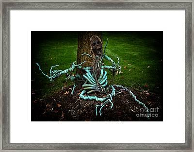 Halloween Green Skeleton Vinette Framed Print