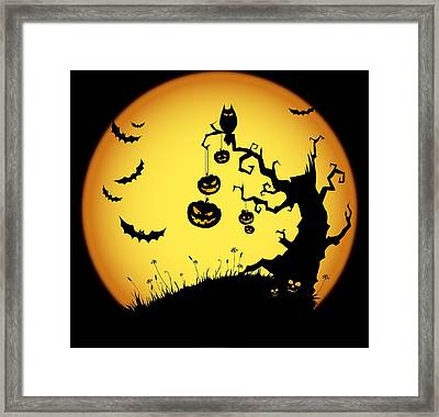 Halloween Haunted Tree Framed Print