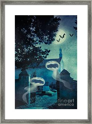 Halloween Illustration With Evil Spirits Framed Print by Mythja  Photography