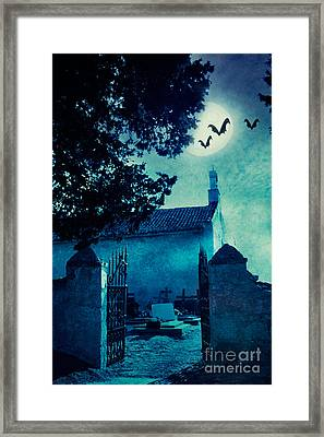 Halloween Illustration With Graveyard Framed Print by Mythja  Photography