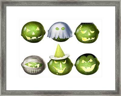 Halloween Limes Monsters Framed Print by Walt Curlee