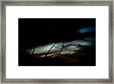 Halloween Moon Over Tucson Desert Framed Print