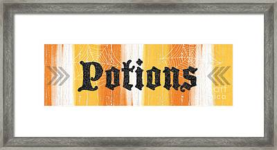 Halloween Potions Sign Framed Print by Linda Woods