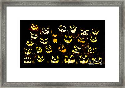Halloween Pumpkin Faces Framed Print by Tim Gainey