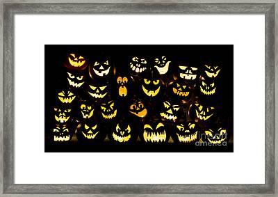 Halloween Pumpkin Faces Framed Print