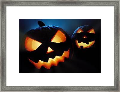 Halloween Pumpkins Closeup -  Jack O'lantern Framed Print