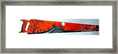Halloween Painted Saw Framed Print by Jeffrey Koss