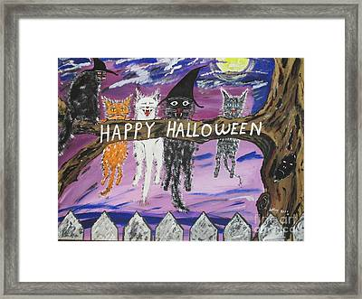 Halloween Scaredy Cats Framed Print by Jeffrey Koss