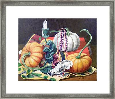Framed Print featuring the painting Halloween Scene by Laura Aceto