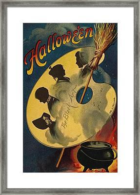 Halloween The Black Art Framed Print by Ellen Hattie Clapsaddle