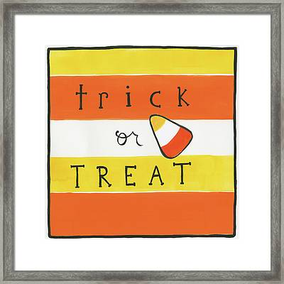 Halloween Trick Or Treat Candy Corn Framed Print by Melissa Averinos