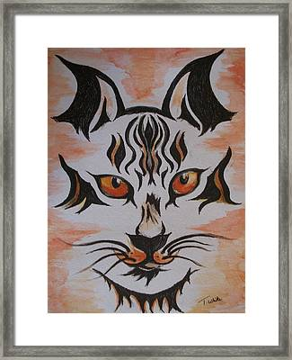 Framed Print featuring the painting Halloween Wild Cat by Teresa White