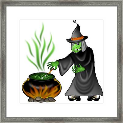 Halloween Witch Illustration Framed Print by David Gn