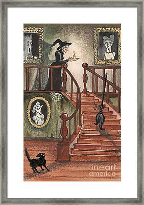Halloween Witch Framed Print by Margaryta Yermolayeva