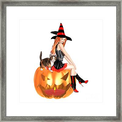 Halloween Witch Nicki With Kitten Framed Print