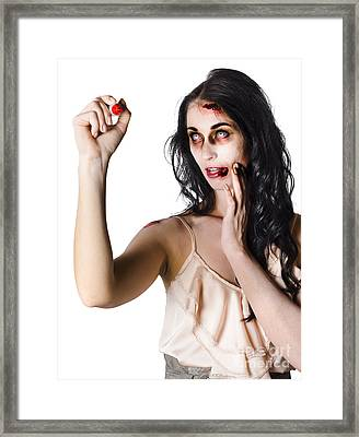Halloween Zombie Woman Writing Message Framed Print by Jorgo Photography - Wall Art Gallery