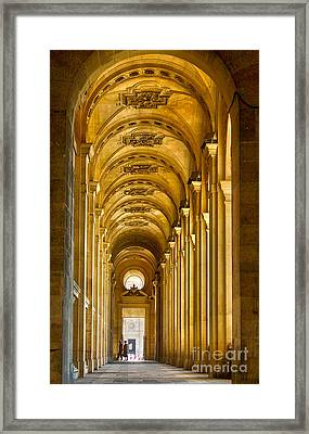 Hallway At The Louvre In Paris Framed Print by Cynthia Lagoudakis
