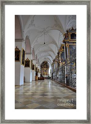 Framed Print featuring the photograph Hallway Of A Church Munich Germany by Imran Ahmed