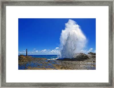 Halona Blowhole Exploding Geyser Framed Print by Aloha Art