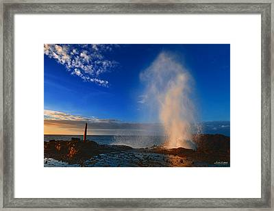 Halona Blowhole Geyser In The Morning Framed Print by Aloha Art