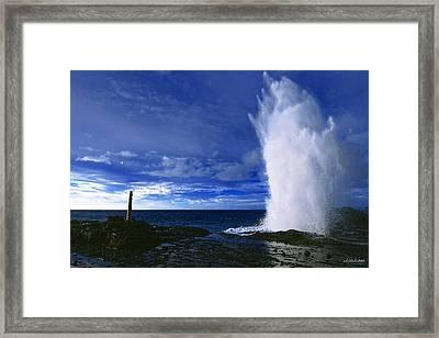 Halona Blowhole Ice Blue Geyser Framed Print by Aloha Art