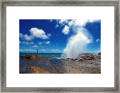 Halona Blowhole Misty Geyser Framed Print by Aloha Art