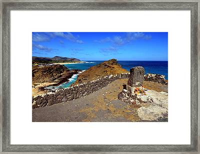 Halona Blowhole Monument Framed Print by Aloha Art