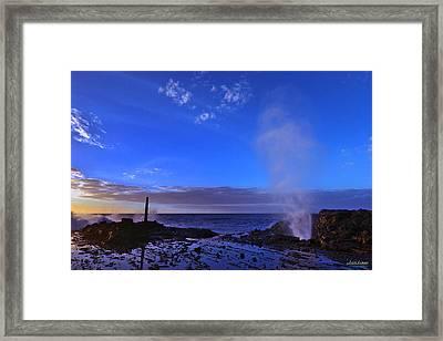Halona Blowhole Purple Sunrise Framed Print by Aloha Art