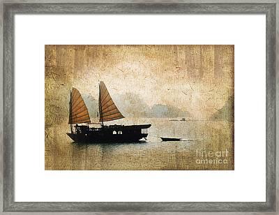 Halong Bay Vintage Framed Print