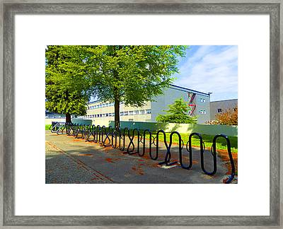 Framed Print featuring the photograph Bike Rack by Laurie Tsemak