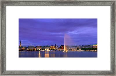 Hamburg At The Blue Hour Framed Print