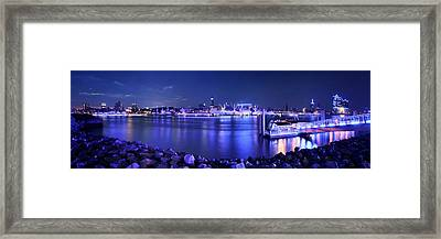 Hamburg Blue Port Panorama Framed Print by Marc Huebner