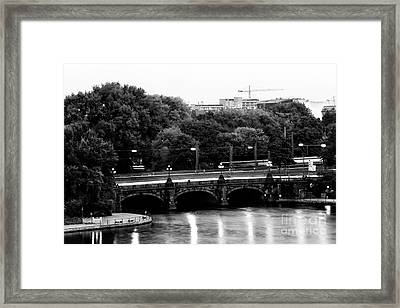 Hamburg Bridge Lights Framed Print
