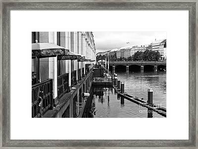 Hamburg Canal Morning Mono Framed Print by John Rizzuto