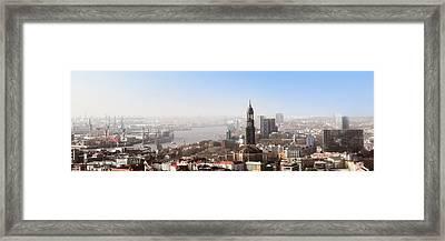 Hamburg Elbe Panorama Framed Print by Marc Huebner