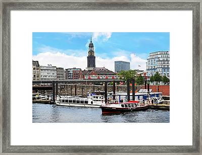 Hamburg, Germany, Tour Boats Docked Framed Print by Miva Stock