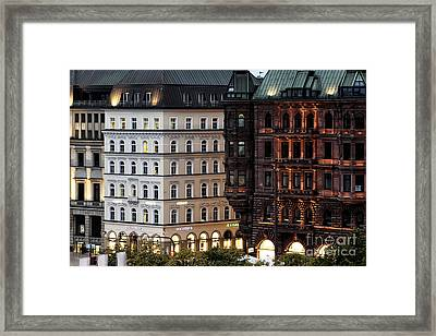 Hamburg Night Glow Framed Print