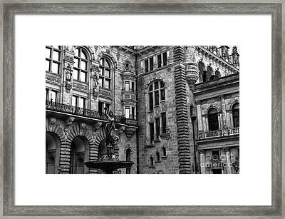 Hamburg Old World Rathaus Mono Framed Print