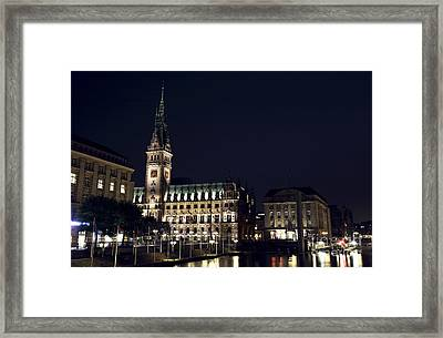 Hamburg Rathaus By The Canal Framed Print by John Rizzuto