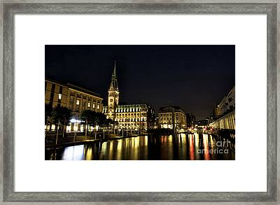 Hamburg Rathaus Colors Framed Print