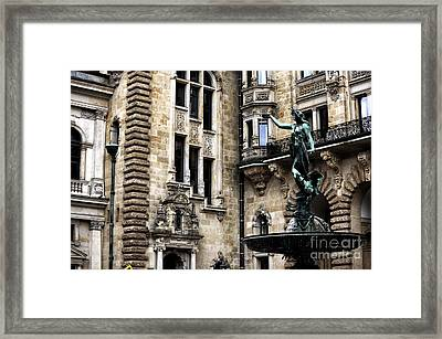 Hamburg Rathaus Lady Framed Print by John Rizzuto