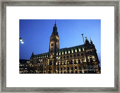 Hamburg Rathaus Night Lights Framed Print