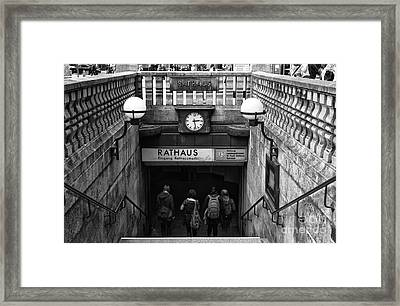 Hamburg Rathaus Station Mono Framed Print