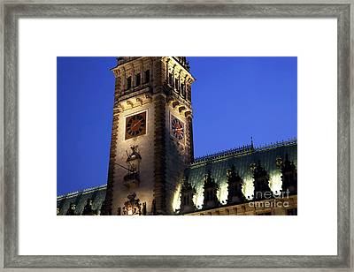 Hamburg Rathaus Tower At Night Framed Print