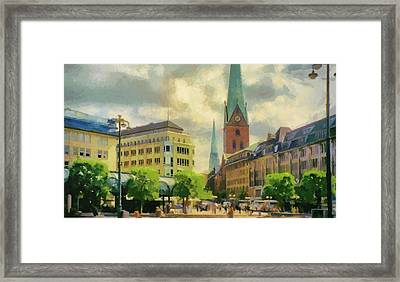 Hamburg Street Scene Framed Print by Jeff Kolker