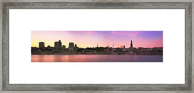 Hamburg Sunset Skyline Framed Print by Marc Huebner