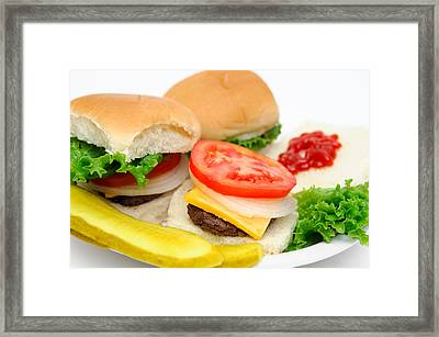 Hamburger And Pickles Framed Print by Don Bendickson