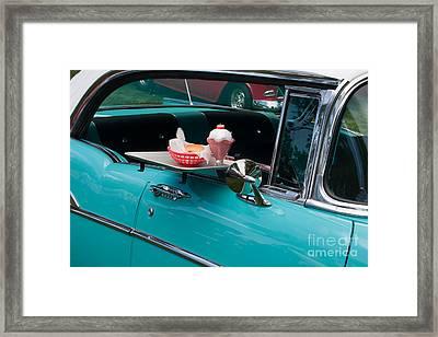 Framed Print featuring the photograph Hamburger Drive In Classic Car by Gunter Nezhoda